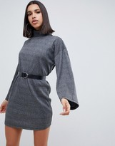 Asos Design DESIGN high neck rib sweat dress with belt