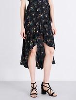 Sandro Floral-print crepe skirt