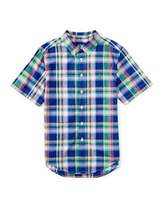 Ralph Lauren Short-Sleeve Madras Plaid Shirt, Blue/Green, Size 2T-4T