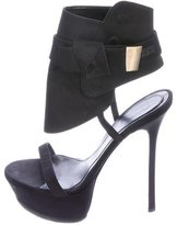 Alexander McQueen Bow-Accented Satin Sandals