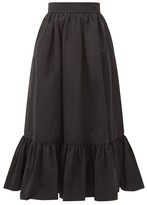 Valentino Ruffled-hem Cotton-blend Faille Midi Skirt - Womens - Black