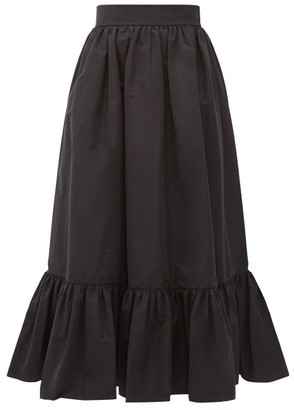 Valentino Ruffled-hem Cotton-blend Faille Midi Skirt - Womens - Black