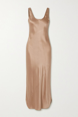 Nili Lotan Silk-satin Midi Dress - Bronze