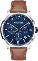 Coach Bleeker Blue Dial Chronogrpah Tan Leather Strap Mens Watch