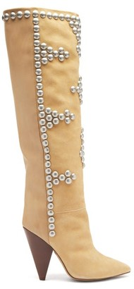 Isabel Marant Lyork Studded Suede And Leather Knee-high Boots - Beige