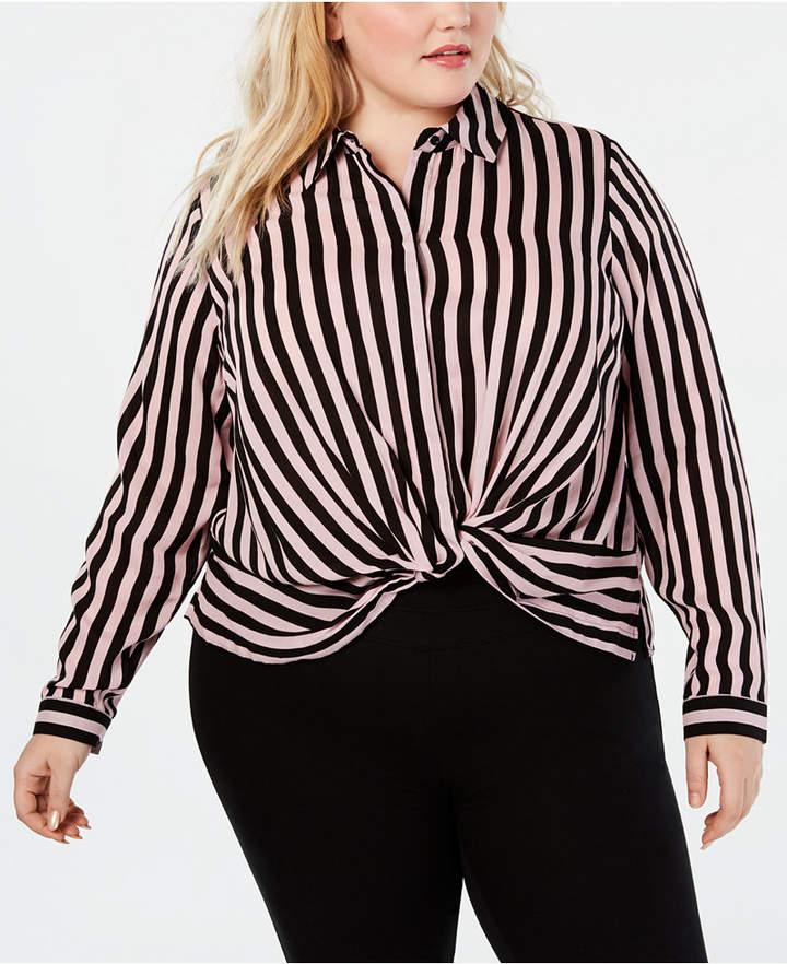 INC International Concepts I.n.c. Plus Size Striped Twist-Front Shirt