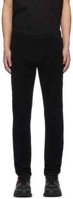 HUGO BOSS Navy Velvet Glen Straight Trousers
