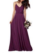 Gardenwed Simple Spaghetti Straps Flowy Long Bridesmaid Dress Formal Dress Dark Grey