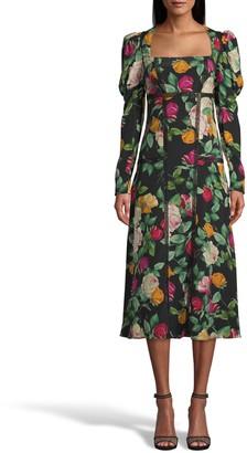 Nicole Miller Reine Rose Silk Juliet Dress W/ Lace Trim