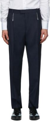 HUGO BOSS Navy Wool Zip Detail Trousers