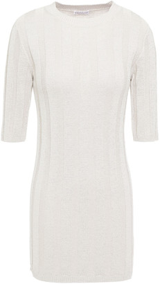 Brunello Cucinelli Metallic Ribbed Cotton-blend Top