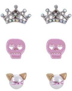 Betsey Johnson Skull Stud Earrings Set
