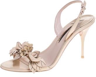 Sophia Webster Beige Patent Leather Lilico Applique Ankle Strap Sandals Size 39