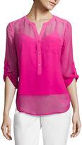 Liz Claiborne 3/4-Sleeve Dip Dye Woven Shirt