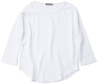 Mod-o-doc Double Layer Gauze 3/4 Sleeve Seamed Front Tunic (White) Women's Clothing