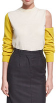 Calvin Klein Cold-Shoulder Bicolor Wool Crewneck Top