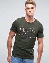 Jack and Jones Camo Print Logo T-Shirt in Khaki