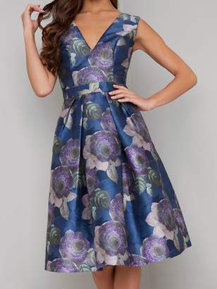 Chi Chi London James V-neck Printed Dress - Multi