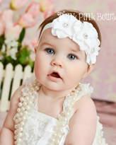 Etsy White baby headband, flower headband, baby Headbands,Baptism Headband, Christening headband,Flower H