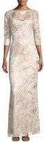 Aidan Mattox 3/4-Sleeve Embroidered Column Gown, Blush Multi