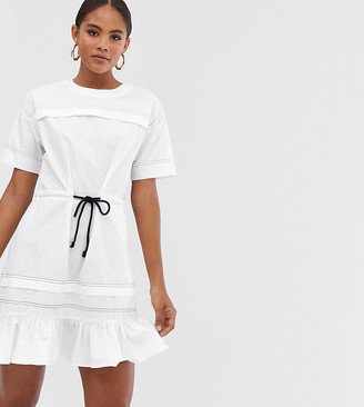 Asos Tall DESIGN Tall mini skater dress with top stitching and rope belt-White