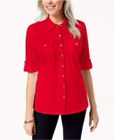 Karen Scott Elbow-Length Roll-Tab-Sleeve Shirt, Created for Macy's