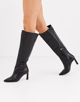 Asos Design DESIGN Cyprus premium leather pull on knee high boots in black