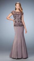 La Femme 21706 Illusion Lace Applique Trumpet Gown