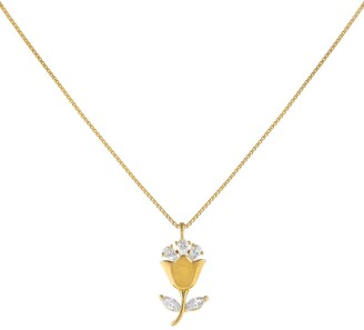 Adina's Jewels Cubic Zirconia Flower Pendant Necklace