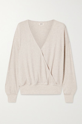 L'Agence Amber Ribbed Modal-blend Wrap Top - Cream
