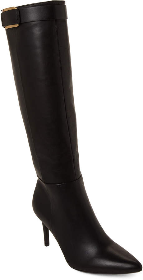 Calvin Klein Black Glydia Pointed Toe Leather Tall Boots