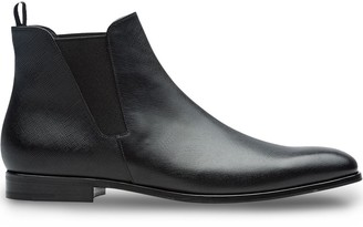 Prada Saffiano leather Chelsea boots