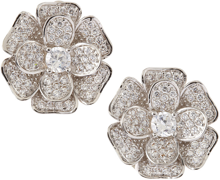 Kenneth Jay Lane CZ by Pave Cubic Zirconia Flower Clip Earrings