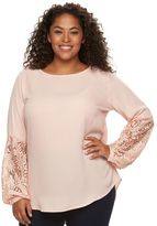 Apt. 9 Plus Size Lace-Sleeve Georgette Top