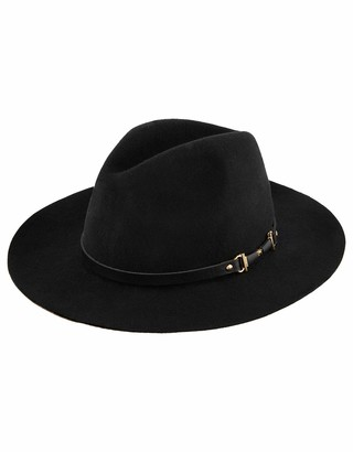 Monsoon Ladies Metal Trim Fedora Hat Black