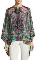 Etro Paisley-Print Silk Poncho Blouse