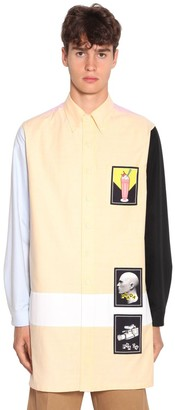 Prada Patched Color Block Cotton Oxford Shirt