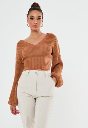 Missguided Tall Brown V Neck Ballon Sleeve Cropped Sweater