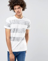 Solid Crew Neck T-shirt With Washed Block Stripe