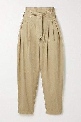 Mes Demoiselles Kala Belted Cropped Metallic-trimmed Cotton-canvas Tapered Pants - Beige