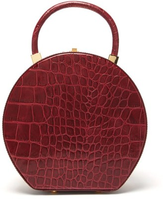 Sparrows Weave - The Round Wicker And Leather Bag - Burgundy