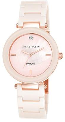 Anne Klein Women's AK/1018PMLP Diamond-Accented Light Pink Watch With Ceramic Bracelet
