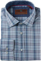 James Tattersall Men's Cotton Plaid Dress Shirt
