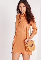 Missguided Oversized Tie Waist Shirt Dress Camel
