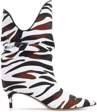 ATTICO 55mm Zebra Printed Crepe Satin Boots