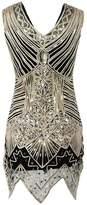 Ez-sofei Women's 1920s Vintage Sequined Embellished Gatsby Flapper Dress (L, )