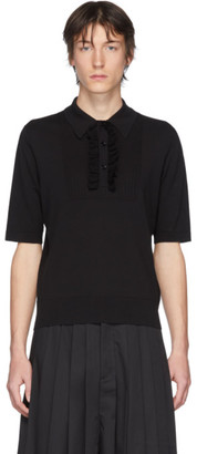 Dries Van Noten Black Ruffle Polo