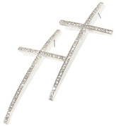 Roial Cross Hoop Earrings Silver