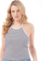 Board Angels Womens Striped Halter Neck Top White/Navy