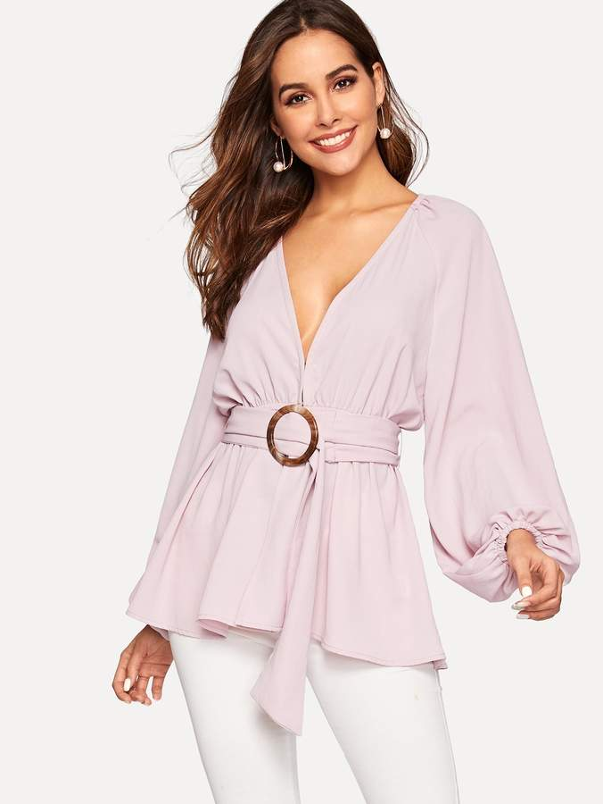 Shein Balloon Sleeve Plunging Peplum Top With O-ring Belt